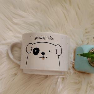 Go Away I Bite Dog White and Mint Green Mug Cup